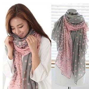 Hot Sale Women Scarf Autumn Warm Soft Long Voile Neck Large Wrap Shawl Stole Pink Grey Dots Scarve 166*60cm(China)