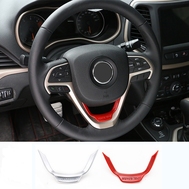 MOPAI Car Interior Accessories ABS Steering Wheel Decoration Trim Stickers For Jeep Cherokee 2014 Up Car Styling mopai abs car interior gps panel frame