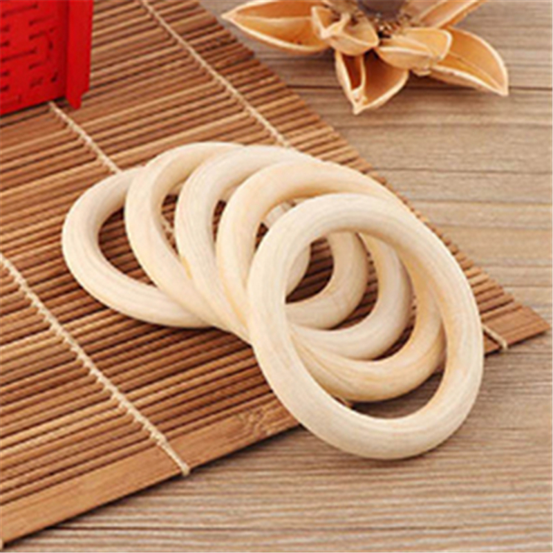 5pcs Baby Teethers Natural Safe Wooden Baby Teething Ring 70mm Necklace Bracelet DIY Craft Wood Ring Toy Teether Baby Gift