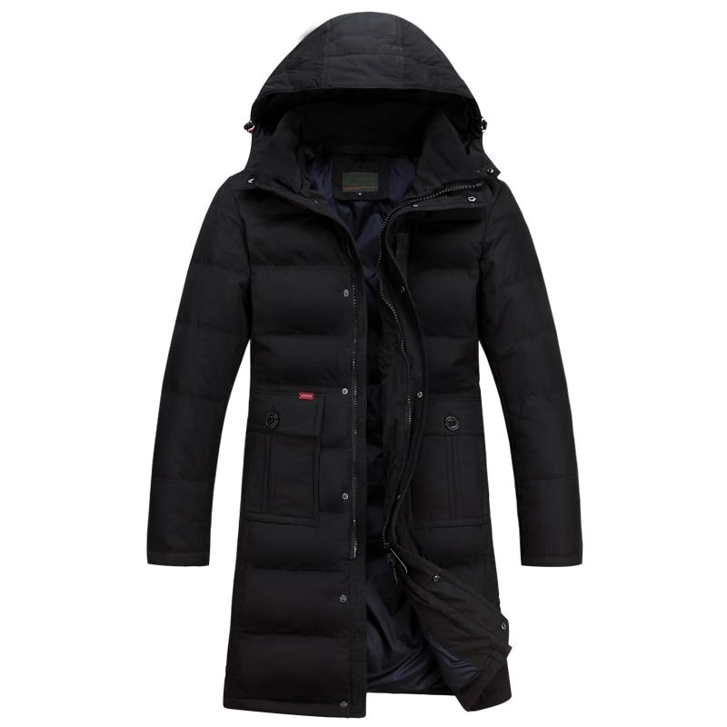 2017 New Brand-Clothing Jacket Fashion Thick Casual Lengthening Knee Down Coat Long Winter Jacket Mens Parka
