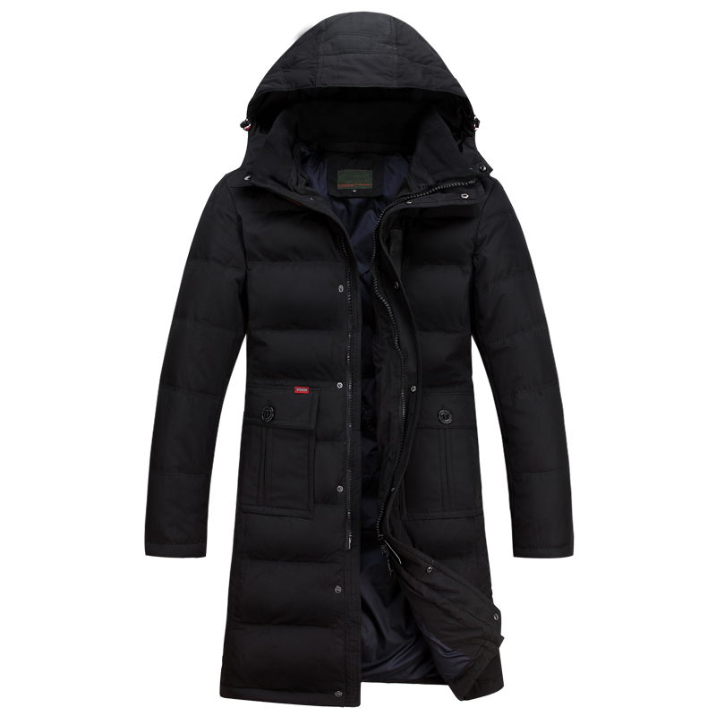 2019 New Brand-Clothing Jacket Fashion Thick Casual Lengthening Knee   Down     Coat   Long Winter Jacket Men's Parka