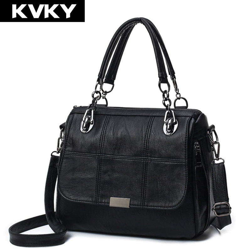 KVKY Brand Fashion Soft PU Leather Handbags Patchwork Women Shoulder Messenger Bags Ladies Crossbody bags Totes Bolsos Mujer nucelle fashion flap handbags brand designer crossbody bags for women blue shoulder messenger schoolbag bolsos mujer de hot sale