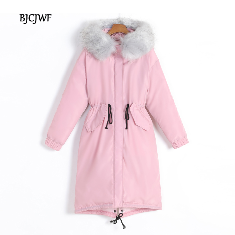 BJCJWF 2017 winter jacket women wadded Long Parkas female outerwear hooded coat cotton padded fur collar parka Thicken Warm 1PC x long cotton padded jacket female faux fur hooded thick parka warm winter jacket women solid color wadded coat outerwear tt763