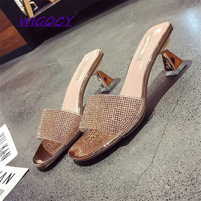 Sequined Open toe <font><b>High</b></font> <font><b>heels</b></font> <font><b>slippers</b></font> <font><b>women</b></font> 2019 Summer <font><b>shoes</b></font> <font><b>women</b></font> Fashion <font><b>Sexy</b></font> Bling Party <font><b>slippers</b></font> Spike <font><b>Heels</b></font> female <font><b>shoes</b></font> image