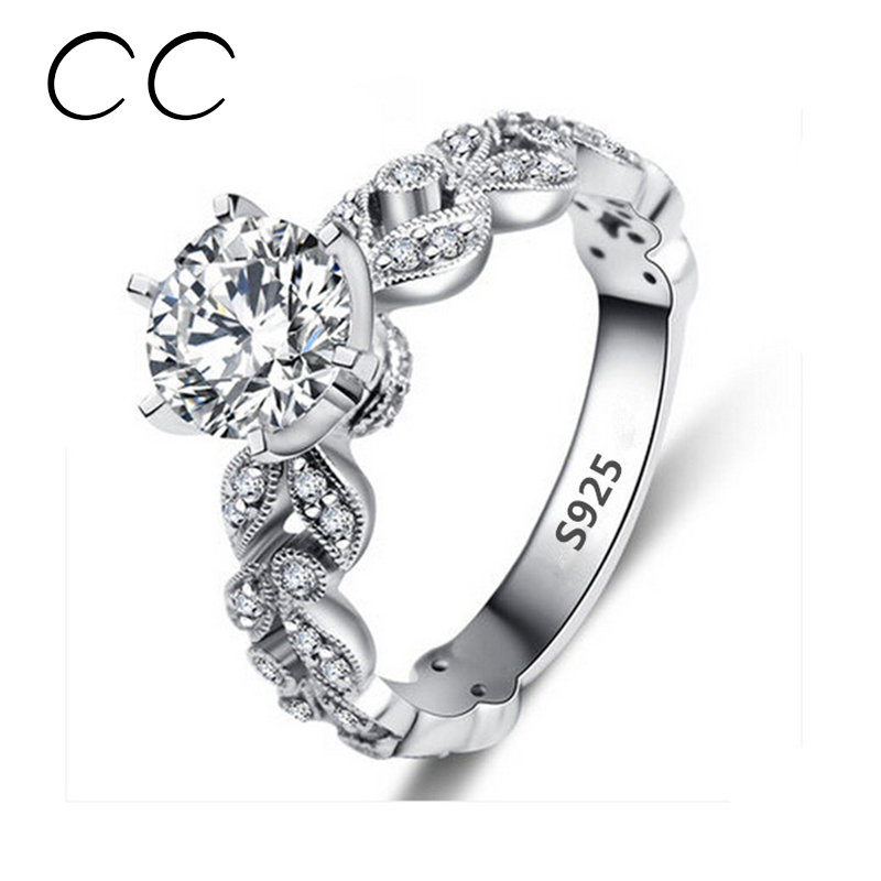 15 carat zirconia wedding engagement rings for women white gold color fashion jewelry female ring bijoux - Wedding Ring Prices