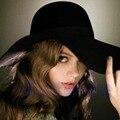 Женская Широкими Полями Войлок Боулер Fedora Hat Дискеты Солнце Бантом Cloche Cap-J117