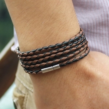 Quality Multi-layered Strand Wrap Men Black Leather Bracelet with Magnet Clasp