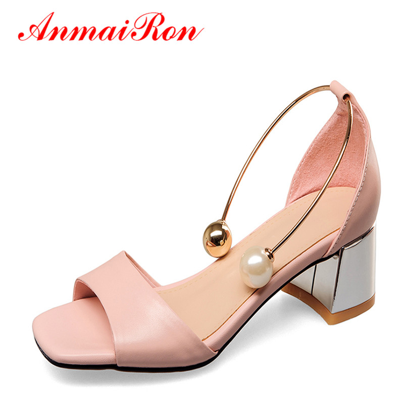 ANMAIRON Summer Womens Shoes Fashion Square Toe Chunky Heels Sandals Women Leather Ladies Sandals Low Heels Shoes Woman Size 40 new 2017 spring summer women shoes pointed toe high quality brand fashion womens flats ladies plus size 41 sweet flock t179