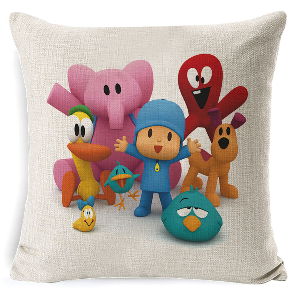 PEIYUAN-Pocoyo-Elly-Pato-Loula-Pocoyo-Dog-Duck-Cushion-Cover-Square-Plain-Multicolor-Pillowcase-Pillowsilp-for (4)