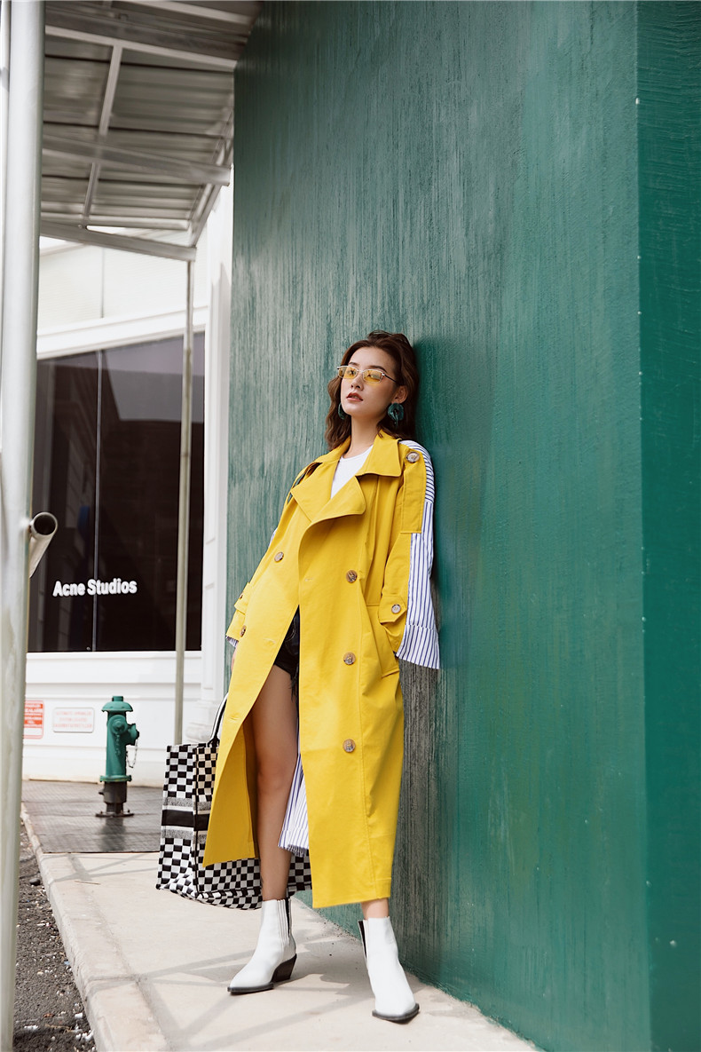 Korean Women Clothes 18 Autumn Windbreaker Female Long Coat New Style Striped Stitching Yellow Winter Trench Coat 6