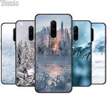 Black Case for Oneplus 7 7 Pro 6 6T 5T Silicone Cover for Oneplus 7 7Pro Soft Phone Case Shell Landscape Winter Light Snow