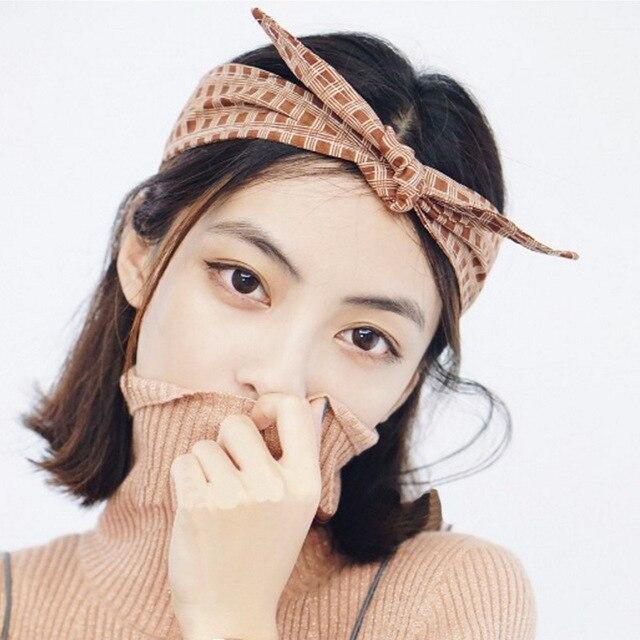 1pcs 2018 New Plaid Cloth Pinup Headbands Korean Rabbit Ears Bow Hair Scarf  Multi-function Hairwear Bandana Wire Hairband 7486cb9dfd3