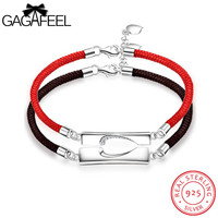 Gagafeel vrouwen mannen unisex armband sterling zilver leer rood zwart ketting bangles sieraden present voor minnaar paar meisjes jongens