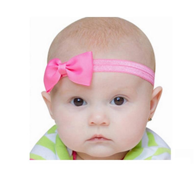 2018 Girl Headband Sweet Flower Mini Satin Ribbon Bow Newborn Children Hair Band Elastic Headbands Hair Accessories 20 Colors