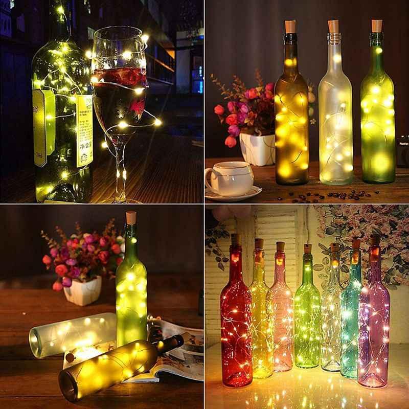Ootdty 10/20 LED Solar Botol Anggur Gabus Berbentuk String Lampu Malam Peri Natal Peri Lampu Outdoor Garland String