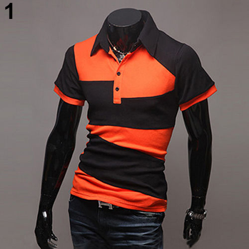 New and Fshion Fashion Men Slim Fit Color Block Casual Polo Shirt T-Shirt Short Sleeve Tops Tee