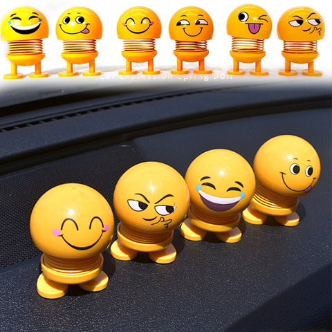 Car Ornaments Smiley Shaking Head Dolls Cute Cartoon Funny Emoji Wobble Head Robot Dashboard Car decorations Car accessories Karachi