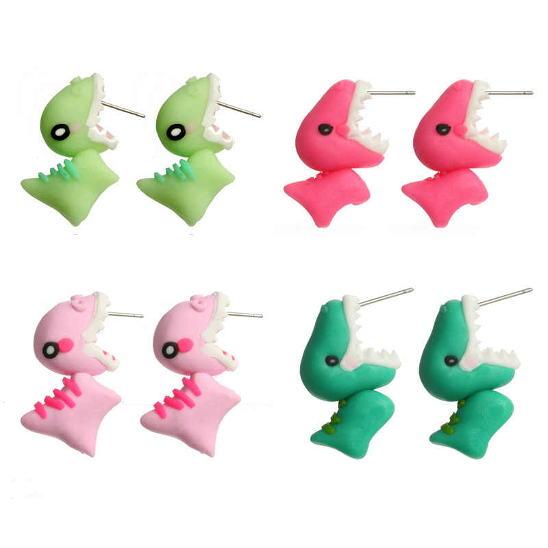 Cartoon Cute 3D Polymer Clay Soft Cute Dinosaur Dog Earrings Women Fashion Animal Piercing Ear Stud Earring Jewelry Multi Colors