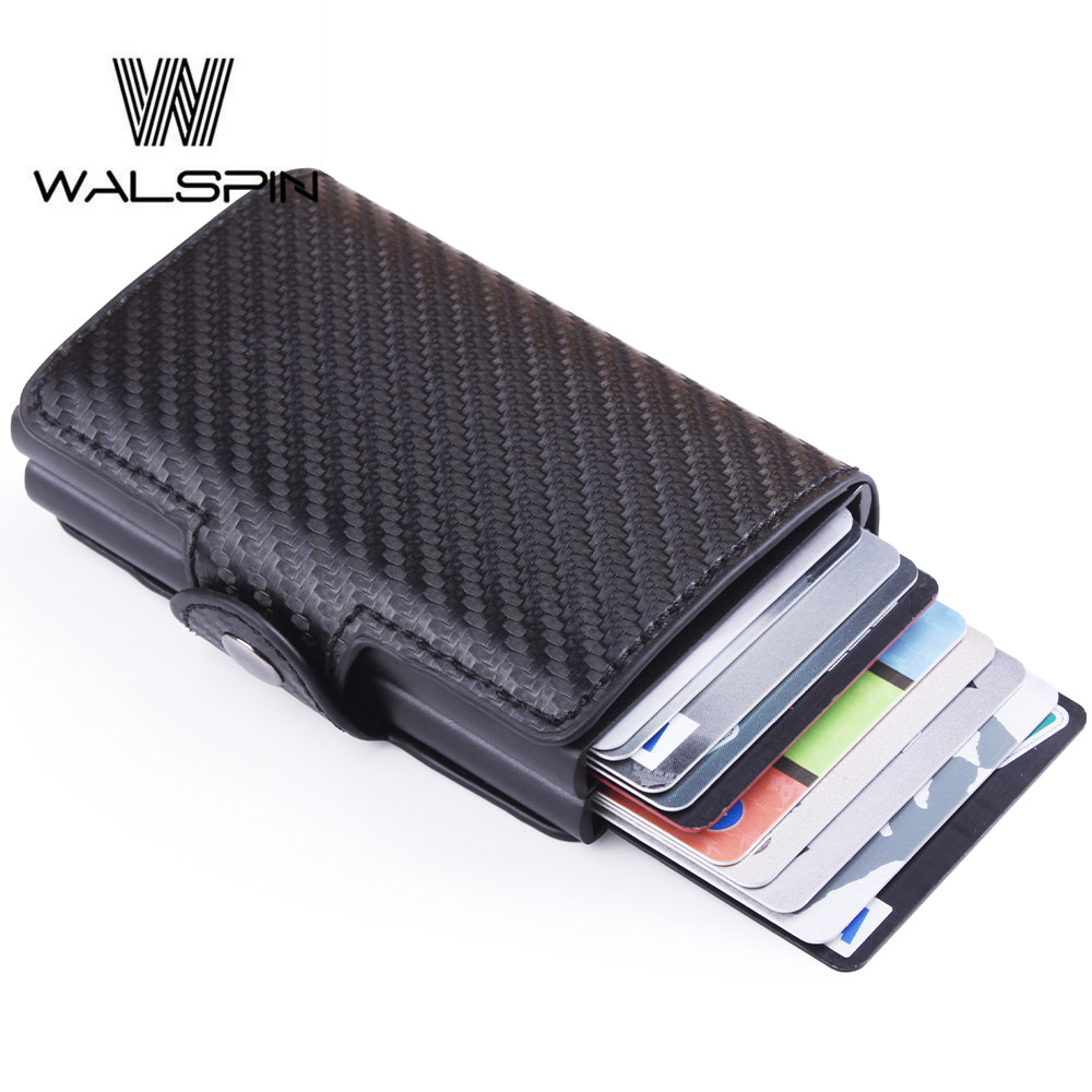 Men's Leather ID Credit Card Holder RFID Blocking Business Mini Slim Wallet Double Layer Automatic Pop Up Cardholder Wallet