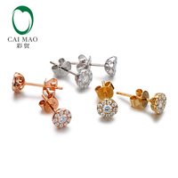 Caimao 14K Gold Natural 0.34ct H SI Halo Diamonds Earrings Studs Exquisite for Women