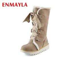 ENMAYLA חדש חמה למכירה חצי אופנה מגפי הברך עבה פרווה חם אישה נעלי חורף Vintage תחרה עד פלטפורמת מגפי שלג חיצוני