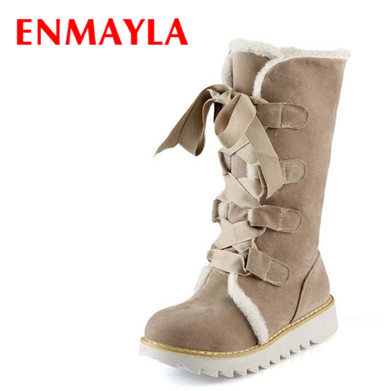 ENMAYLA New Hot Sale Half Knee Boots Fashion Thick Fur Warm Winter Shoes Woman Vintage Lace Up Platform Outdoor Snow Boots Women цены онлайн