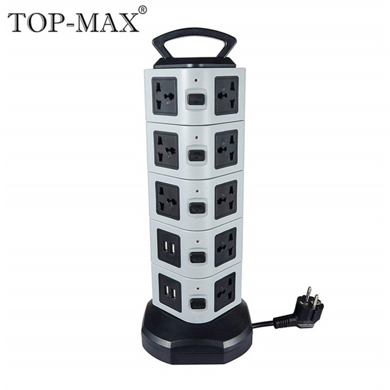 цена на TOP-MAX 5-Layer Extension Socket 18 Outlets 4 USB Ports EU Plug 2M Cable Vertical Socket Strip Socket With Overload Protector
