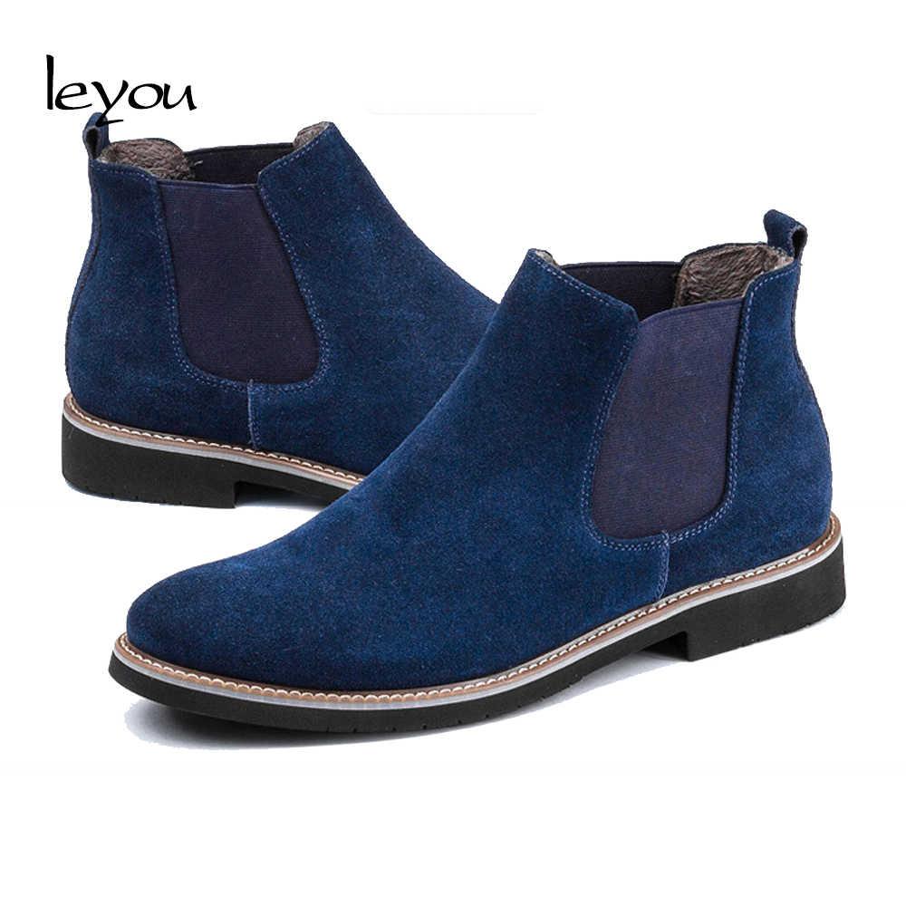 8355440e7bb6e ... Leyou Suede Boots Men High Top Shoes Brands Boots Shoes Winter Men  Suede Chelsea Boots Ankle ...
