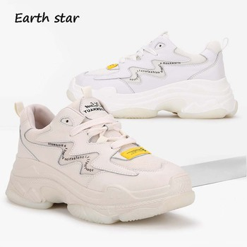 Casual White Shoes Women Fashion Platform Sneakers Genuine Leather zapatos de mujer Spring New Ladies footware chaussures femme
