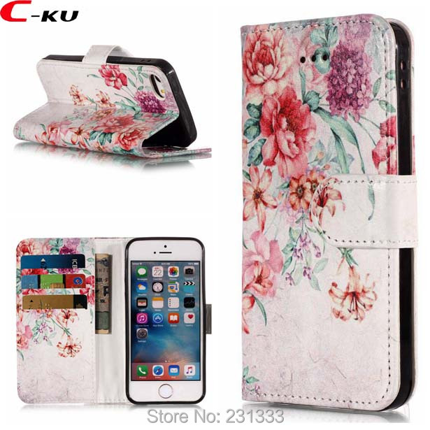 C ku Cartoon Flower Wallet Leather Case For Iphone X 8 7 Plus 7plus I7 6 6S SE 5S For Ipod Touch 5 6 ID Card Stand Cover 100pcs