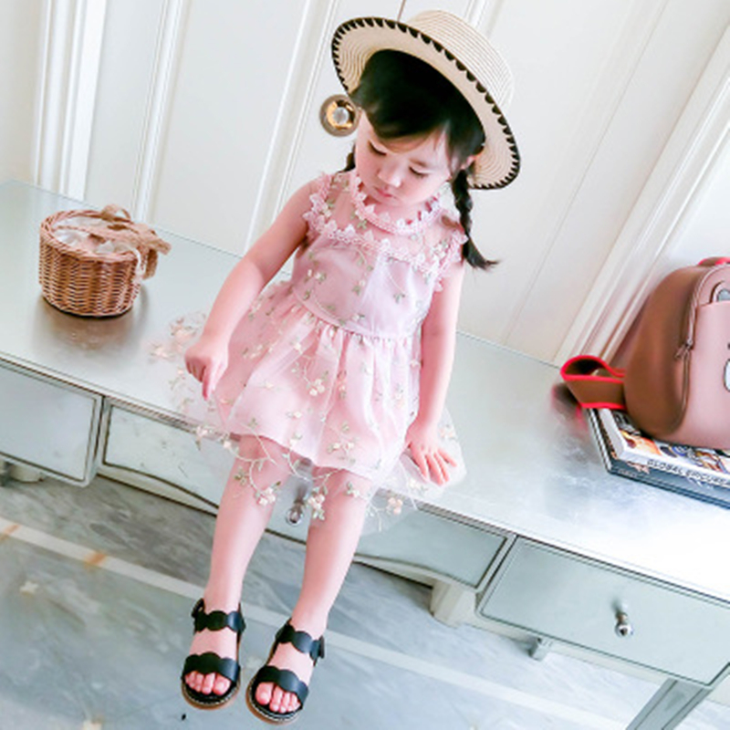 Sukienka dziewczęca 2018 Nowa letnia siatkowa odzież dziewczęca - Ubrania dziecięce - Zdjęcie 5