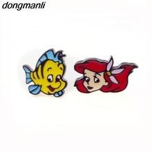 P1377 Dongmanli, 1 пара, новая мода, эмаль, для девочек, детский подарок, ювелирное изделие, Милая Русалочка, серьги-гвоздики для женщин