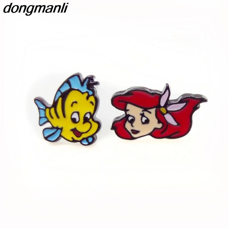 P1377 Dongmanli 1 par Nueva Moda esmalte Niñas Niños Joyería de Regalo Lindo Little Mermaid ear Stud Pendientes Para las mujeres 2018