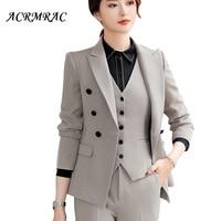 ACRMRAC Women suits Slim Solid color jacket skirt 2 pieces set OL Formal Women skirt suits Women business suits
