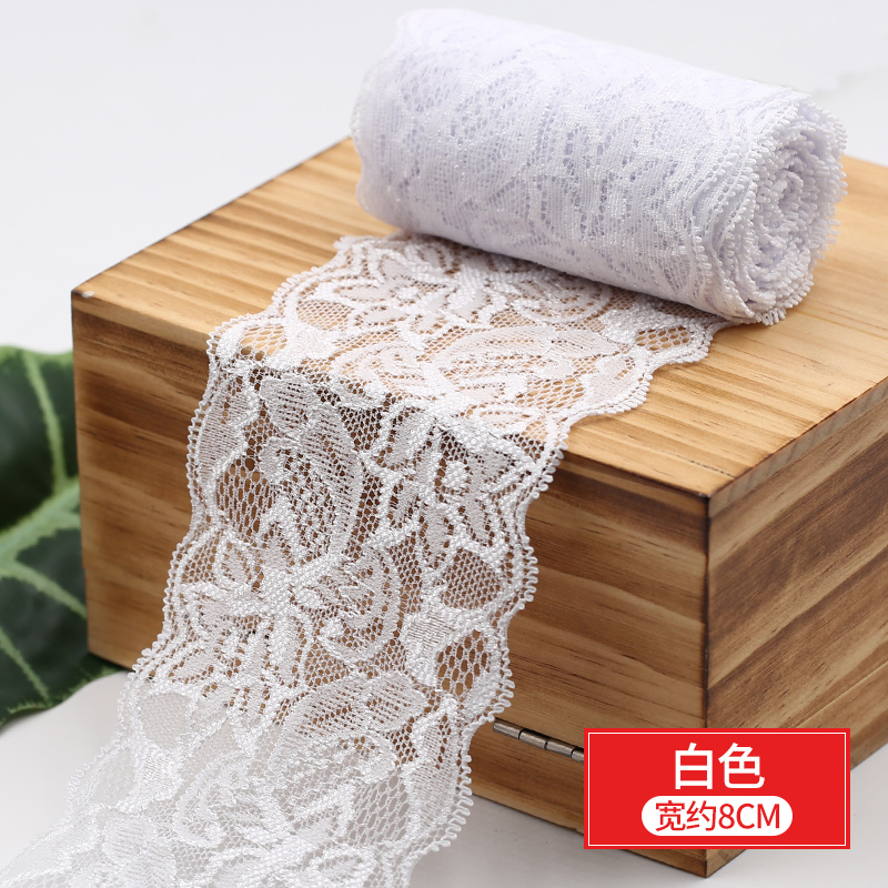 8cm Spandex Lace Elastic Crafts Sewing Ribbon White Black Stretch Lace Trimming Fabric Knitting Material DIY 8cm Spandex Lace Elastic Crafts Sewing Ribbon White Black Stretch Lace Trimming Fabric Knitting Material DIY Garment Accessories