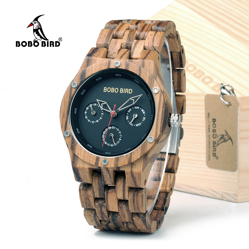 Top Brand BOBO BIRD Men Handmade Wood Watches Week Date Hours Pointer Watch Lightweight Retro Wrist Watch With Gift Box bobo bird brand new wood sunglasses with wood box polarized for men and women beech wooden sun glasses cool oculos 2017