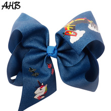 AHB 7 Large Unicorn Hair Bows for Girls Clips Bowknot Hairgrips Fashion Cartoon Print Hairbows Dance Party Kids Headwear