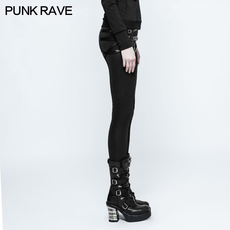 Boucles Mode Rave Black Décoration Amovible 306 Cuir Populaire Punk K Réglable En Skinny Pantalon Conception Pu De Femmes Leggings 4gvq4wr