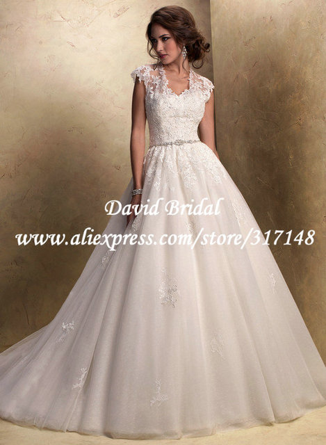 4f28fc66012 EF1537 Beaded Cap Sleeves Organza Lace Puffy Ball Gown Wedding Dresses 2013
