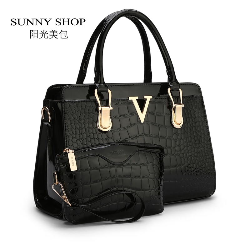 ФОТО SUNNY SHOP  fashion patent PU leather handbags Socialite crocodile grain  women messenger bags fashion women shoulder bags