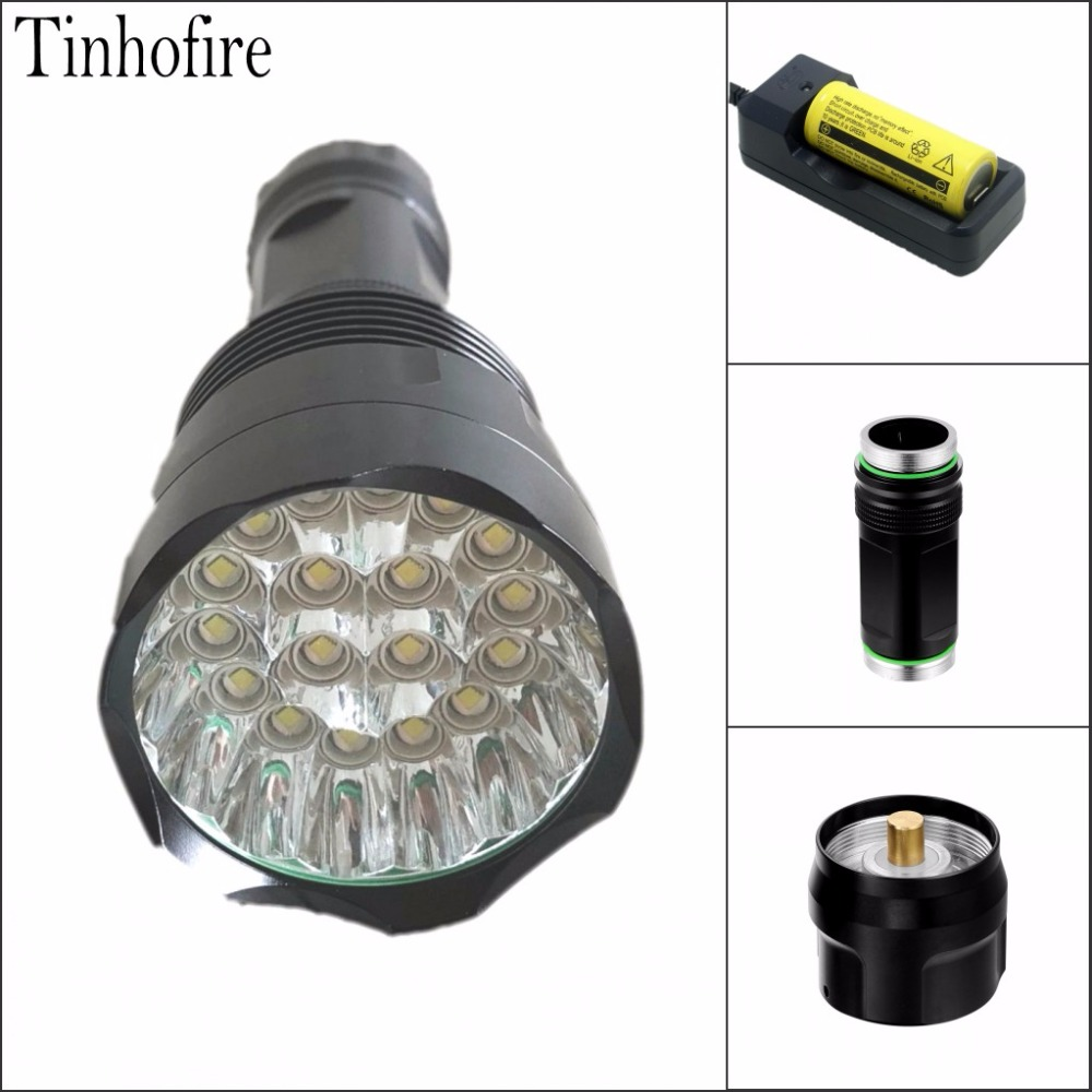 Tinhofire T18 18xT6 XM L T6 30000 Lumens 5 Mode LED Flashlight Torch Lamp Light flashlight 18650/26650 Battery