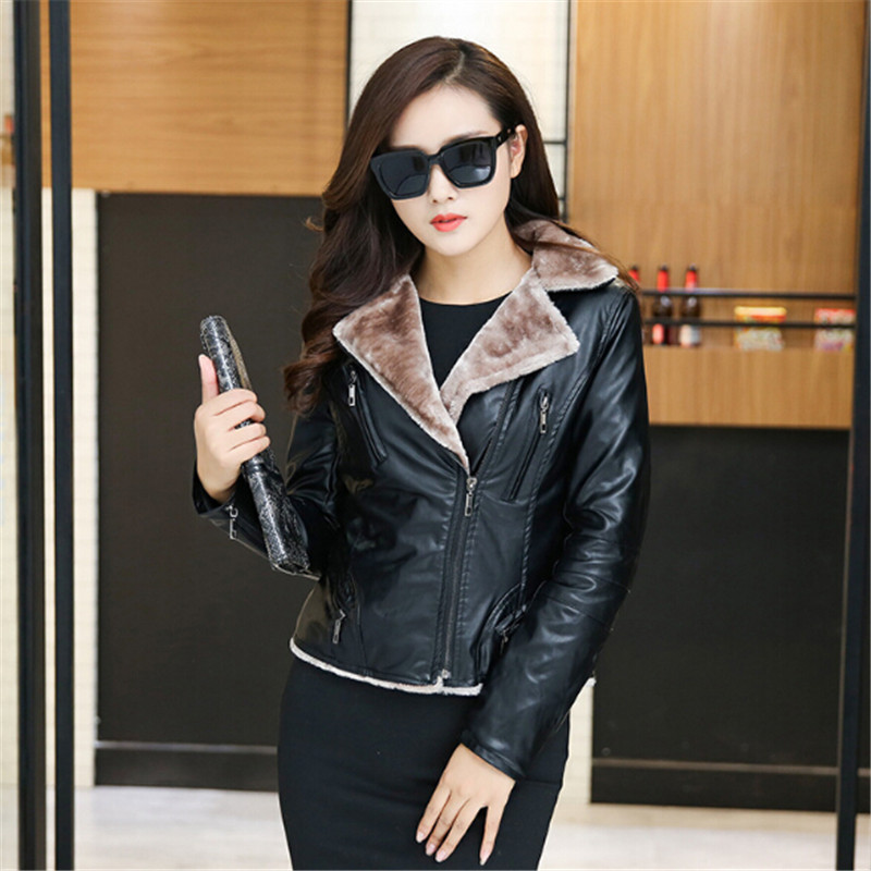 Thickening women's clothing in winter 2018 leather jacket women suede coat black lady outerwear pu short coats