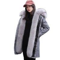 2018 новое пальто с искусственным мехом парки Зимняя куртка, пальто женские парка реального большой меховой воротник с капюшоном из искусств