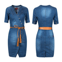2018 New Summer Hot Sell Ladies' Sexy Tight Women Denim Jeans Dress Plus Size Clothing S 3XL