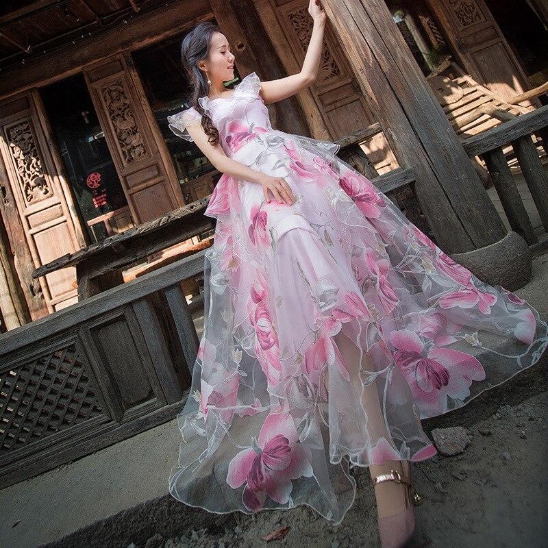 Floral conduites de carburant sans manches broderie sheer organza swing robe maxi pour femmes 2019 robe d'été