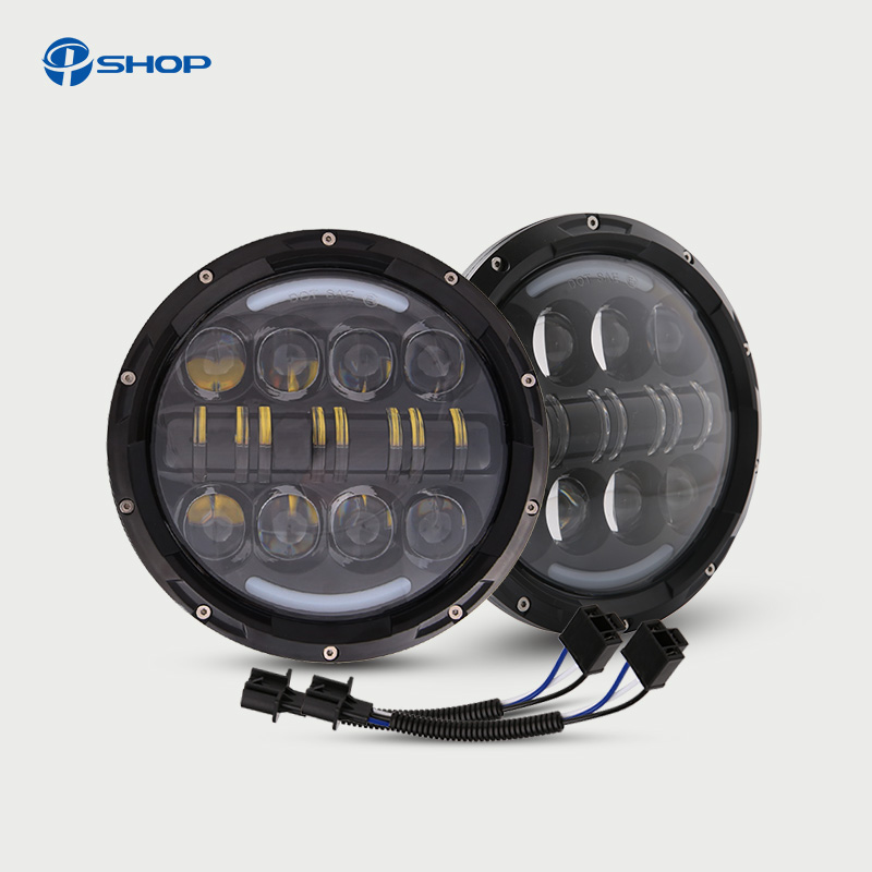 For Jeep Wrangler Defender Led Headlight 7inch Round High Low Beam DC 12v 24v External L ...
