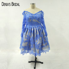 DENIA'S BRIDAL Blue Cocktail Dresses Neckline Knee Length