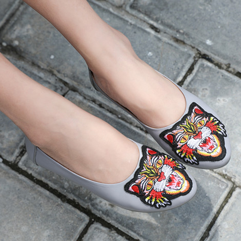 Suave Lujo Black Genuino Fashional white red Realmente Suela Zapatos Planos Diseñador gray Danza De Hembra Mujeres Cuero Cómodos FSgv1W1qd6