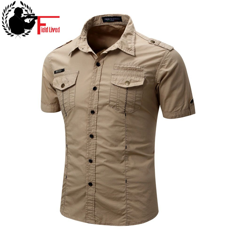 Men's Shirt 2020 Short Sleeve Cargo Shirt Fashion Casual Summer Uniform Military Style Cotton Solid Male Casual Shirt Khaki Grey