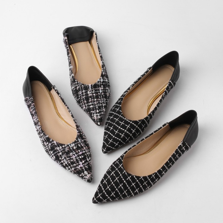 MLJUESE 2019 women flats checkered pointed toe sheepskin inside flats shoes spring autumn casual shoes party